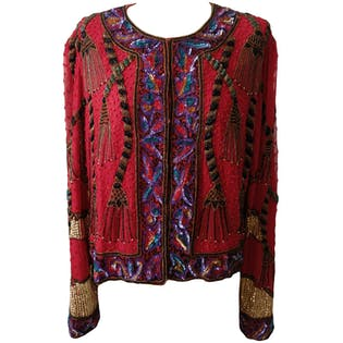 Red Long Sleeve Beaded Jacketby Laurance kagan