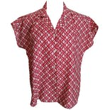 Red Printed Dolman Short Sleeve Button Up Shirt by Carriage Court Fit