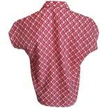 another view of Red Printed Dolman Short Sleeve Button Up Shirt by Carriage Court Fit