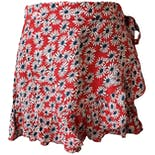 Red Ruffled Shorts with White and Blue Flowers