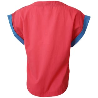 Red Shirt with Blue Cap Cuffed Sleevesby Seprets