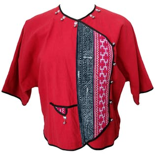 Red Short Sleeved Shirt with Silver Bells