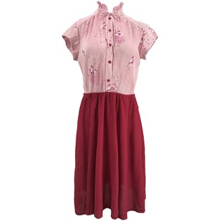 Red Skirted Dress with Pink Pleated Torso