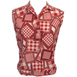 Red and White Gingham Patchwork Sleeveless Button Up