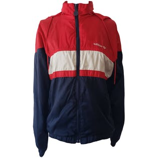 Red White and Blue Hooded Jacket by Adidas