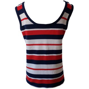 Red White and Blue Horizontal Striped Tank Top