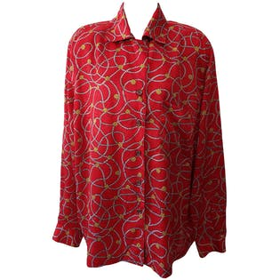 Rope and Coin Printed Button Up Blouse by breckenridge II