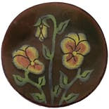 Round Brown Floral Pin