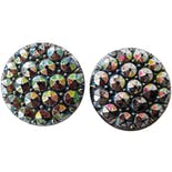 Round Iridescent Crystal Clip On Earrings