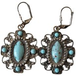 Round Silver and Turquoise Dangle Earrings