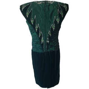 Ruched and Velvet Green Dress with Beaded Collar