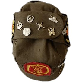 Russian Military Brown Cap with Patches and Pins