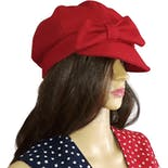 Red Wool Hat with Bow by San Diego Hat Co.