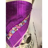 another view of Purple Floral and Polka Dot Scarf by Echo