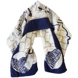 Off White Square Scarf with Navy Blue Paris Design by Banana Republic