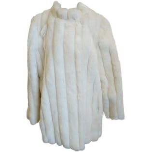 50's Union Made Sectioned White Faux Fur Coat by Stemhouse