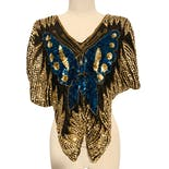 70's Sequin and Silk Butterfly Blouse