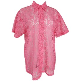 Pink Sheer Lace Button Blouse