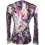 another view of Sheer Purple Abstract Watercolor Print Top by Yasuko