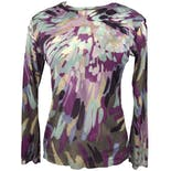 Sheer Purple Abstract Watercolor Print Top by Yasuko