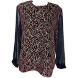 Sheer Sleeved Burgundy and Gold Baroque Blouse by Jeri Marque