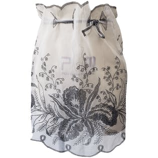 Sheer White Scallop Trim Apron with Black Floral Dot Print