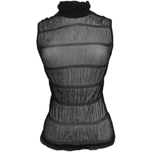 Sheer Black Ruched Sleeveless Turtleneck Top by LVL X