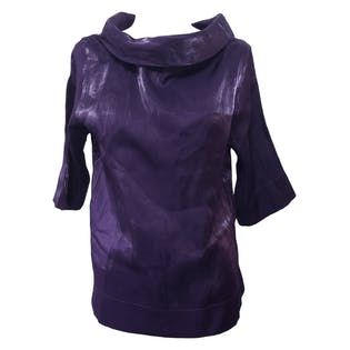 90's Shiny Purple Cowl Neck Blouse by Missudo