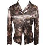 Shiny Rose Print Open Blouse by Y.K. Clothing