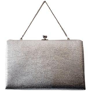 Shiny Silver Clutch with Short Chain Strap