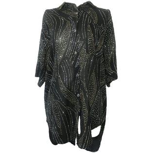 80's Black Gold Silver Button Glittered Blouse by Fancine Browner