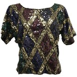 80's Silk Sequin and Beaded Harlequin Blouse