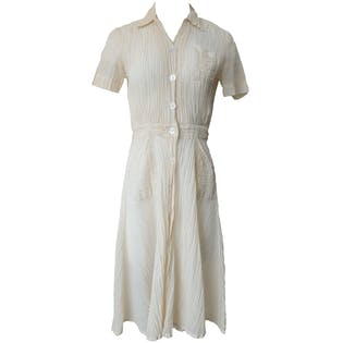 Short Sleeved Cream Button Up Dress