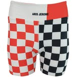 Bike Shorts with Half Black and White Checkers and Half Orange and White Checkers by Aris Jerome