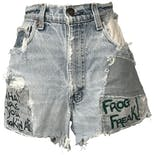 70's Light Blue Distressed Denim Shorts