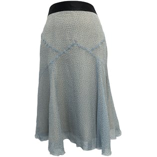 Silk Blue and White Striped and Polka Dot Midi Skirt with Ruffle Detailby Marc Jacobs