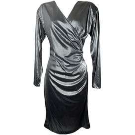 Silver Metallic Long Sleeve Dress by Midnight Glo