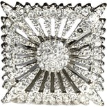 Silver Square Rhinestone Burst Ring
