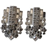 Silver Art Deco Style Clip On Earrings