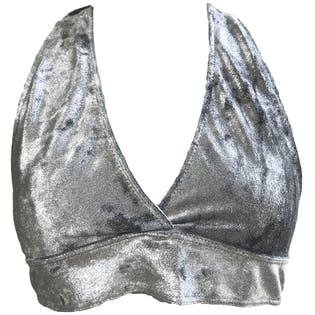 Silver Metallic Halter Tie Swimsuit