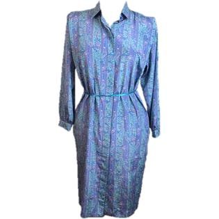 80's/90's Teal Paisley Shirt Dress by Schrader Sport