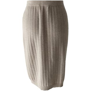 Beige Wool Ribbed Pencil Skirt by Salvatore Ferragamo