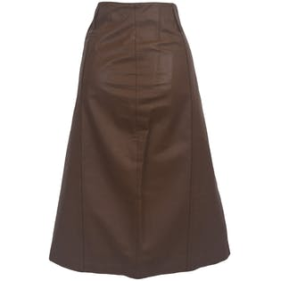 80's Brown Leather Midi Skirt by Together!
