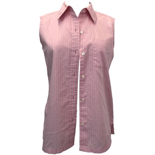 Pink Striped Sleeveless Button Up by Jones Wear