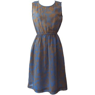 Sleeveless Blue Dress with Brown Floral Print by Sam Road