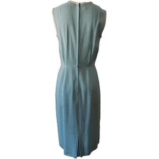 Sleeveless Light Blue Dress with Soft Gray Trim by Tabak