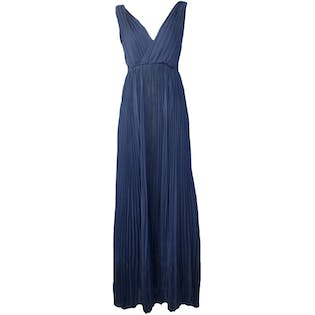 Sleeveless Navy Pleated Maxi Dress by Rebecca Taylor