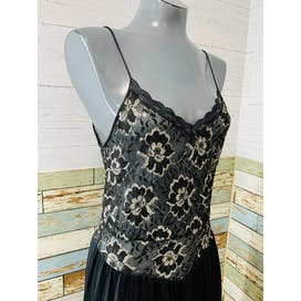 70's Two Tone Sheer Lace Slip Dress