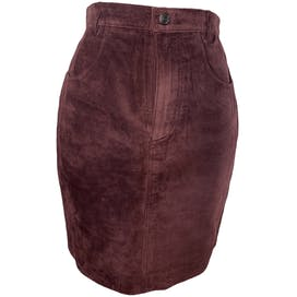 Snap Button Closure Burgundy Leather Skirt by Ideal Brands