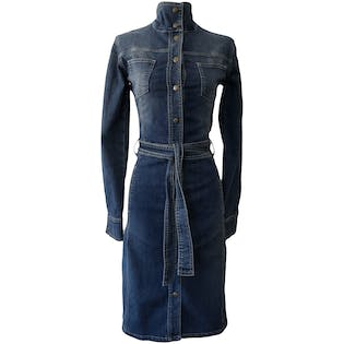 Snap Up Jean Dress with Belt by Sergio Valegte